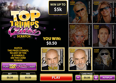 Top Trumps Celebrity scratchie online