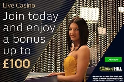 William Hill live casino welcome sign-up bonus