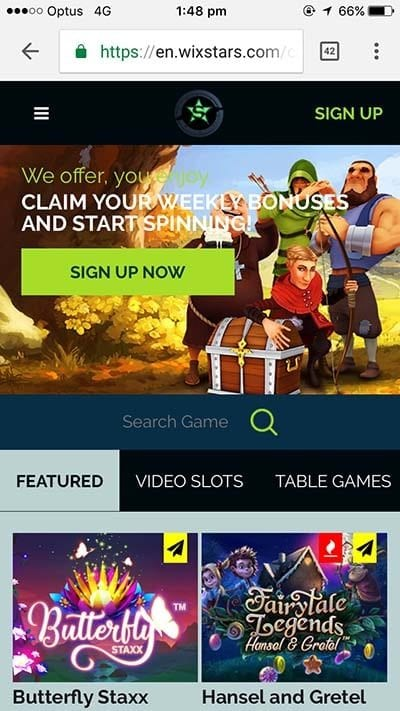 Wixstars mobile casino for Android and iOS