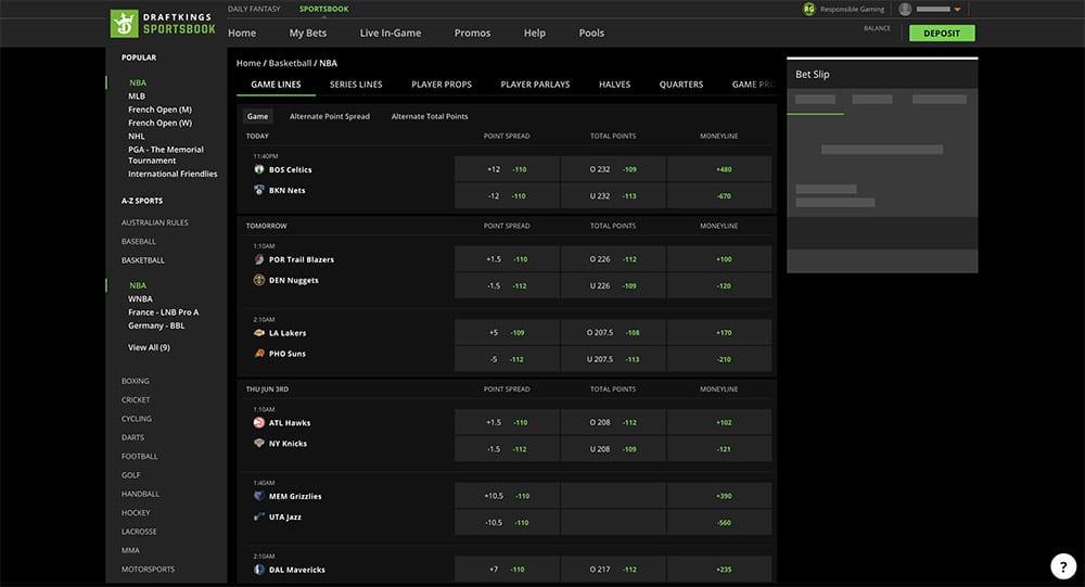 DraftKings Sportsbook Screenshot